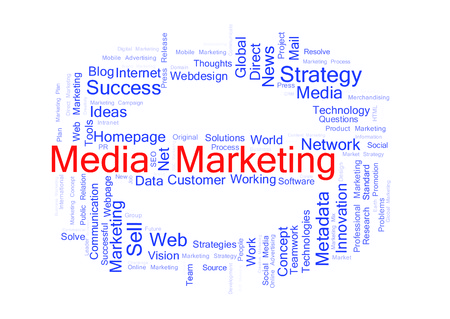 metadata: Media Marketing word cloud shaped as a stop sign Stock Photo