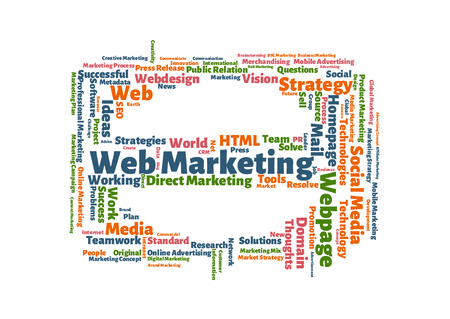 Web Marketing word cloud shaped as a stop sign