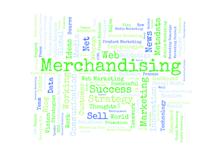 merchandising: Merchandising word cloud Stock Photo