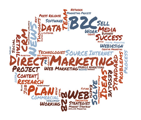 direct marketing: Direct Marketing word cloud shaped as a stop sign