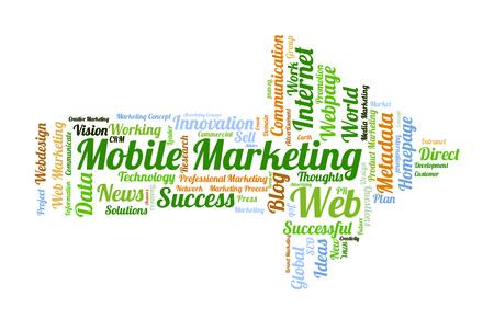 metadata: Mobile Marketing word cloud shaped as a arrow