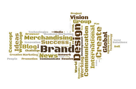 Brand Design word cloud shaped as a arrow Stock Photo