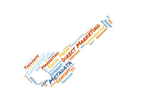 direct marketing: Direct Marketing word cloud shaped as a key