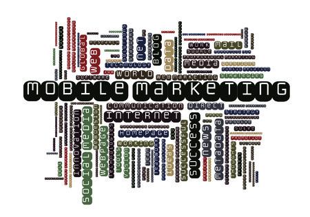 metadata: Mobile Marketing word cloud Stock Photo
