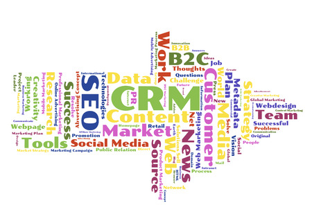 metadata: CRM word cloud shaped as a arrow to the right Stock Photo