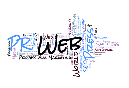relation: Public Relation word cloud shaped as a arrow Stock Photo