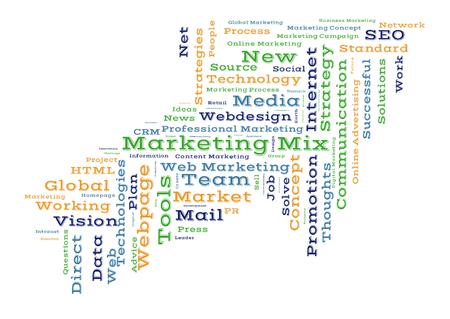 marketing mix: Marketing mix word cloud shaped as a arrow Stock Photo