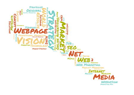 wep: webpage word cloud shaped as a key Stock Photo