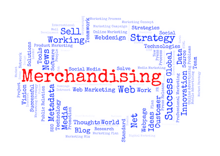 merchandising: Merchandising word cloud shaped as a stop sign Stock Photo