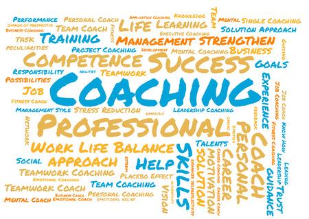 Coaching word cloud on white background Stok Fotoğraf