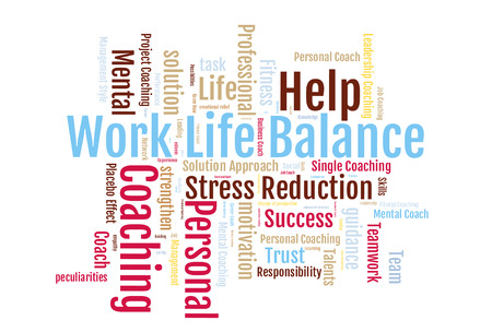 Work life balance word cloud on a white background Stockfoto