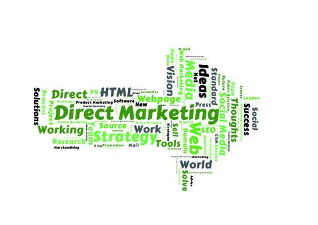 direct marketing: Direct Marketing word cloud shaped as a arrow