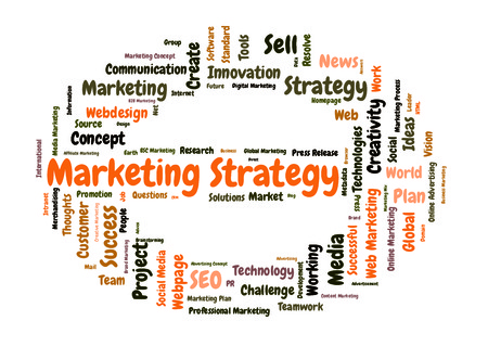 Marketing Strategy word cloud shaped as a stop sign