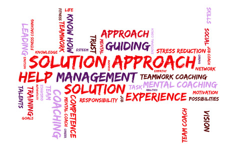 solution: Solution Approach word cloud Stock Photo