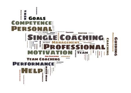 single word: Single coaching word cloud shaped as a key