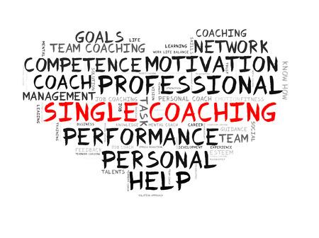 single word: Single coaching word cloud shaped as a heart Stock Photo