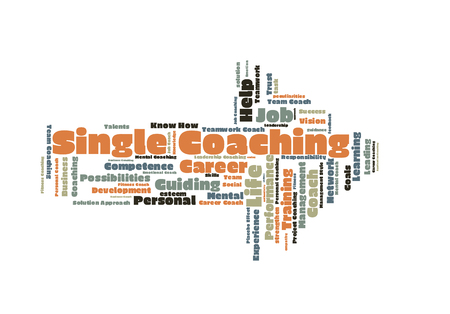 single word: Single coaching word cloud shaped as a arrow Stock Photo