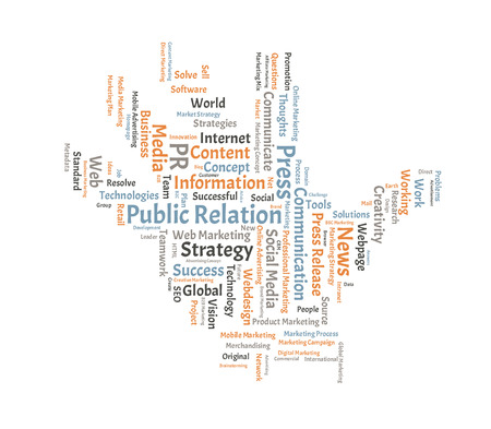 public relation: Public Relation word cloud shaped as a hand Stock Photo