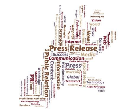Press Release word cloud shaped as a hand Reklamní fotografie