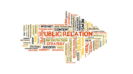 public relation: Public Relation word cloud shaped as a arrow to the right