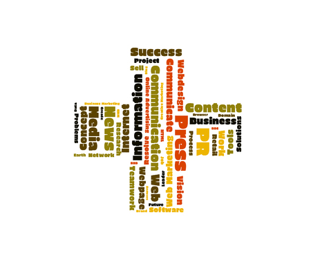 public relation: Public Relation word cloud shaped as a cross
