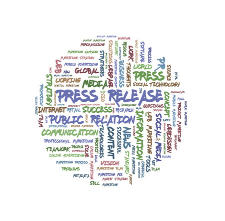 Press Release word cloud shaped as a circle