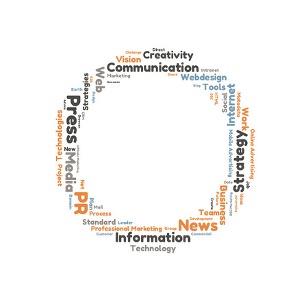 public relation: Public Relation word cloud shaped as a circle