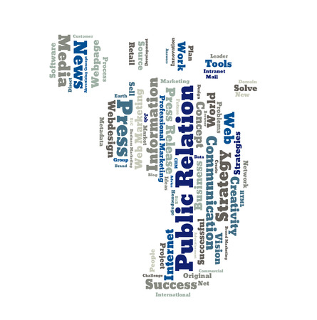 relation: Public Relation word cloud shaped as a feet Stock Photo