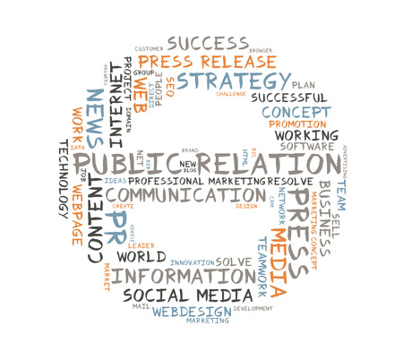 relation: Public Relation word cloud shaped as a circle