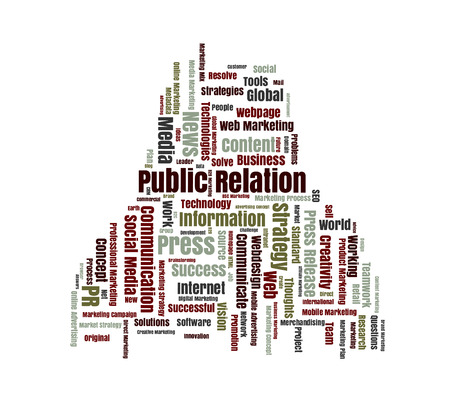 public relation: Public Relation word cloud shaped as a human body