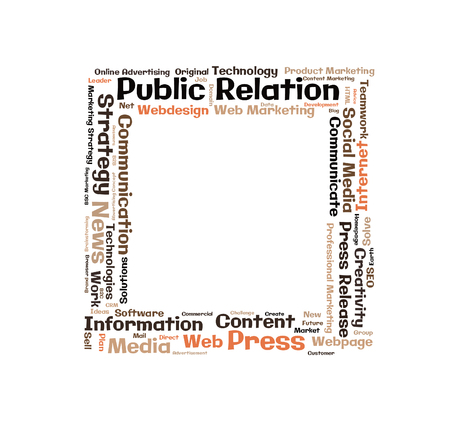 public relation: Public Relation word cloud shaped as a square