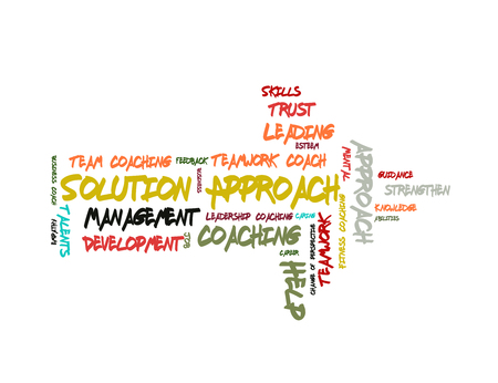 Solution Approach word cloud shaped as a arrow