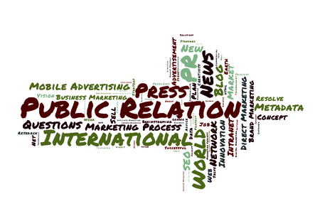 public relation: Public Relation word cloud shaped as a arrow Stock Photo