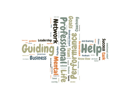 guiding: Professional guiding word cloud shaped as a cross Stock Photo