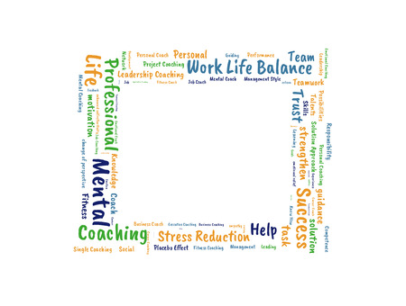 work life balance: Work life Balance word cloud shaped as a square Stock Photo