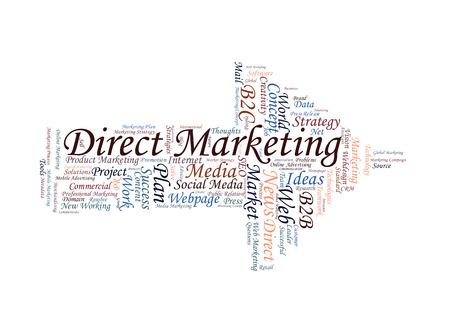 direct marketing: Arrow shaped Direct Marketing word cloud