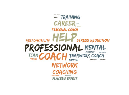 Professional coach word cloud shaped as a cross Imagens