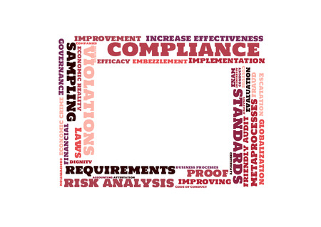 variance: compliance word cloud shaped as a square Stock Photo