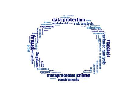questionnaires: fraud word cloud shaped as a circle