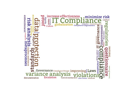 variance: IT compliance word cloud shaped as a square Stock Photo