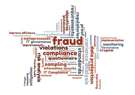 questionnaires: fraud word cloud shaped as a star