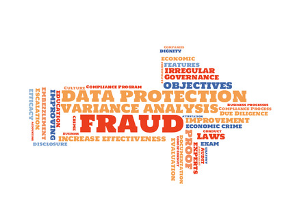 Fraud word cloud shaped as a arrow to the right Stock Photo
