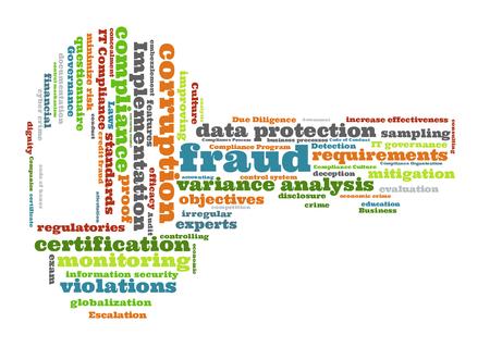 escalation: Fraud word cloud shaped as a key