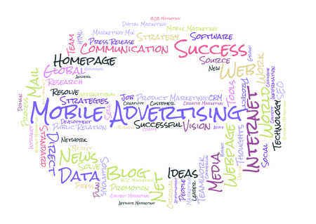 mobile advertising: Mobile Advertising word cloud shaped as a stop sign