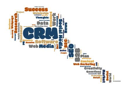 metadata: CRM word cloud key shape Stock Photo