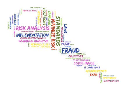risk analysis: risk analysis word cloud shaped as a key