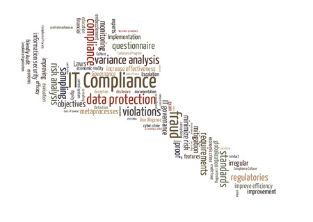 variance: IT compliance word cloud shaped as a key Stock Photo