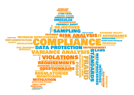 compliance word cloud shaped as a star