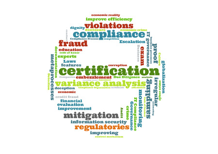 variance: certification word cloud shaped as a stop sign