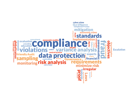 mitigation: compliance word cloud shaped as a arrow to the right Stock Photo
